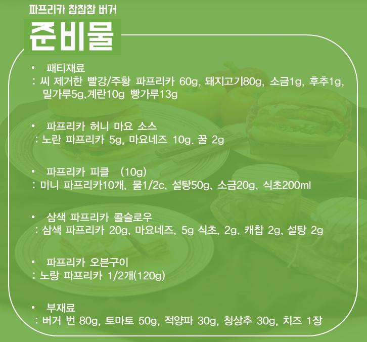 제4회 참참참파프리카콘테스트 최우수상 수상작 파프리카 참참참버거