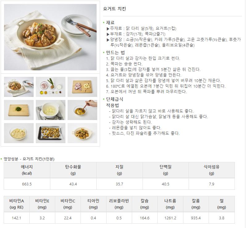 농촌진흥청 2월의 식재료 요거트 레시피 요거트 치킨